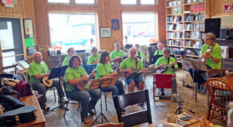 falling rock jamboree II alger county market walk program falling rock cafe and bookstore munising ukulele group